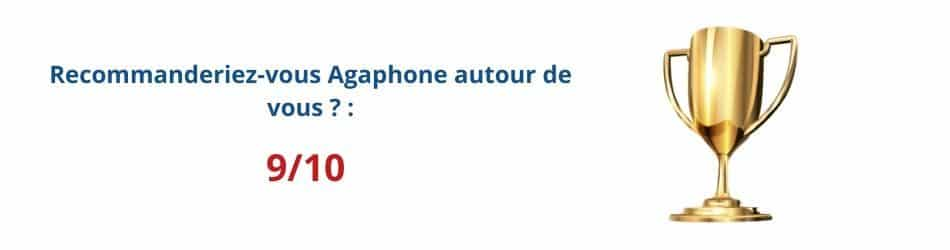 Bannière avec résultat de l'enquête de satisfaction clientèle Agaphone